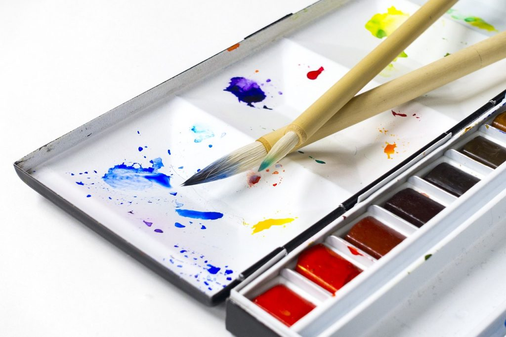 acuarelas, watercolors, paint, painting tools