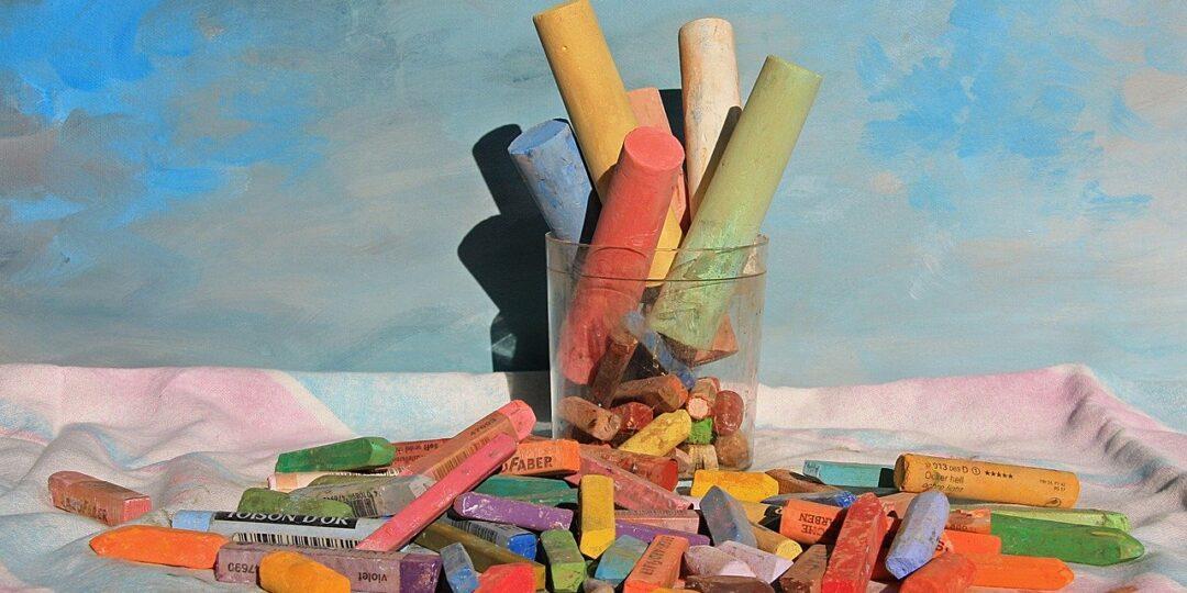 pastel chalk, pens, color