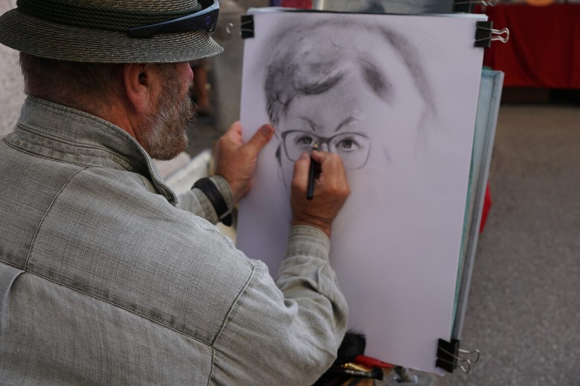 dibujar con técnicas secas, painter, man, art